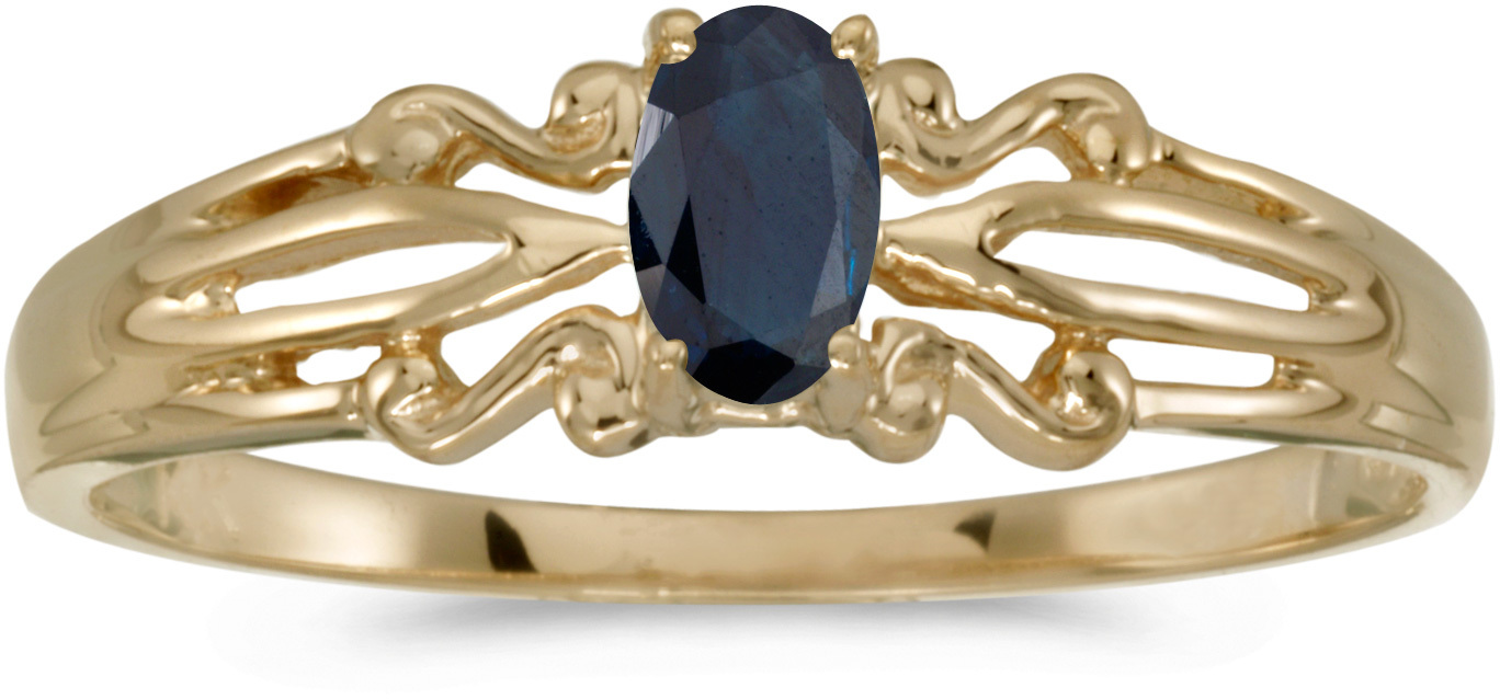 14k Yellow Gold Oval Sapphire Ring (CM-RM1058X-09)