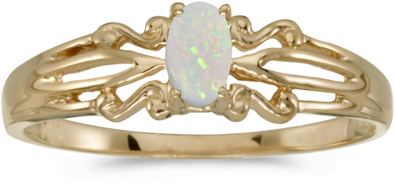 14k Yellow Gold Oval Opal Ring (CM-RM1058X-10)