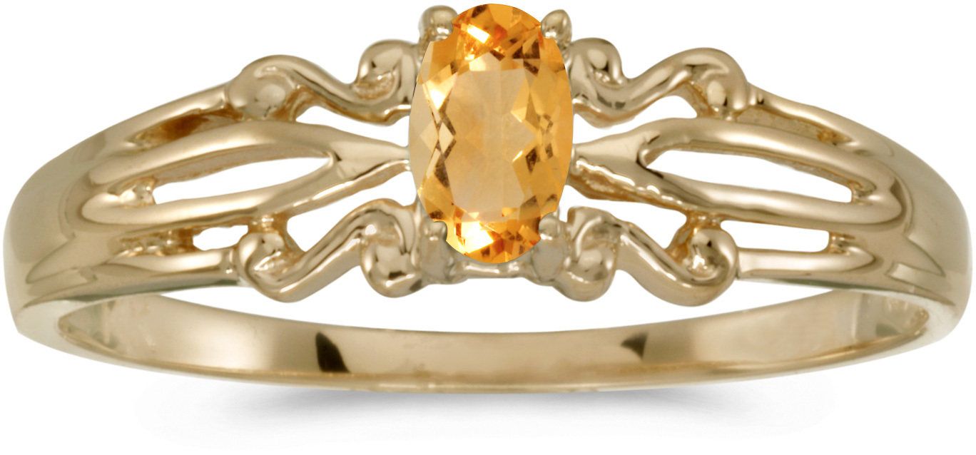 14k Yellow Gold Oval Citrine Ring (CM-RM1058X-11)