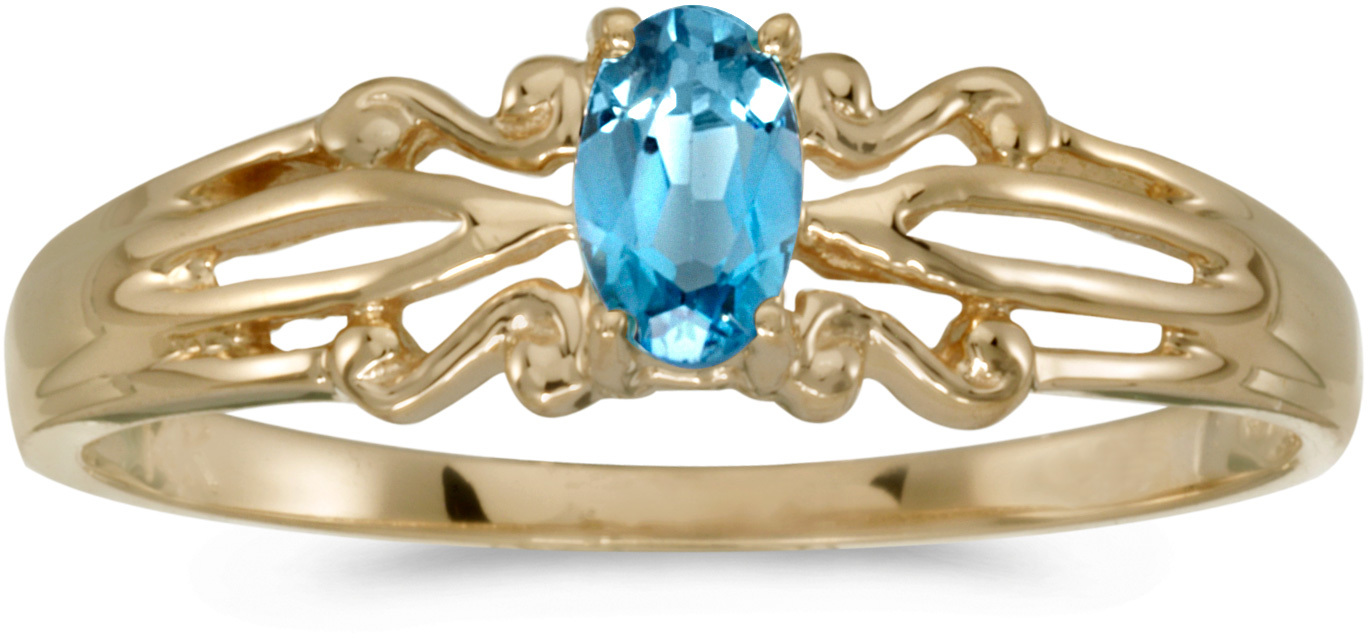 14k Yellow Gold Oval Blue Topaz Ring (CM-RM1058X-12)