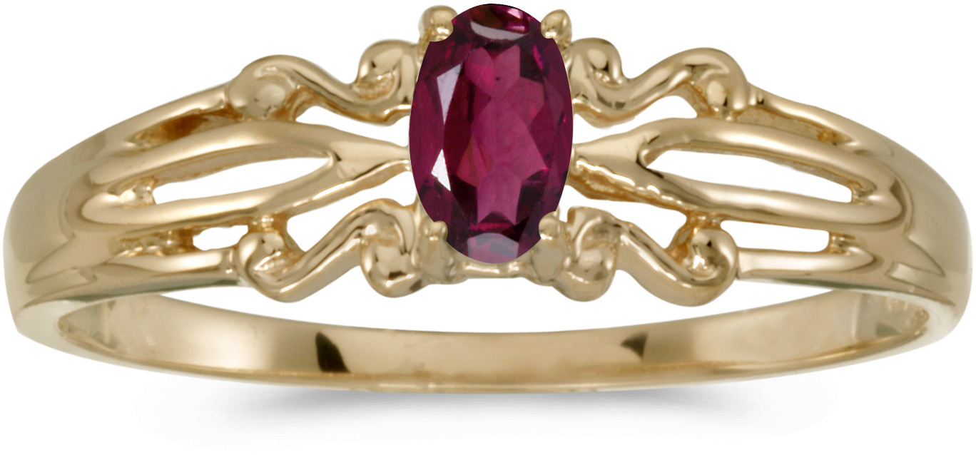 14k Yellow Gold Oval Rhodolite Garnet Ring (CM-RM1058X-RG)
