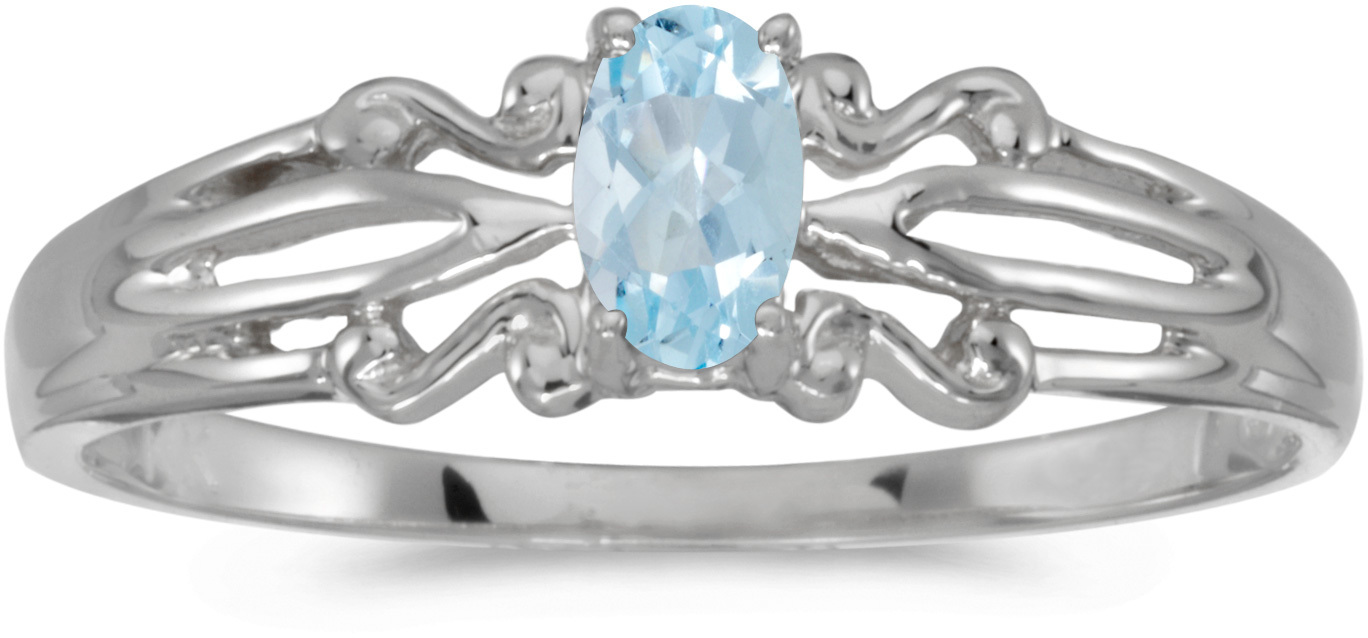 14k White Gold Oval Aquamarine Ring (CM-RM1058XW-03)
