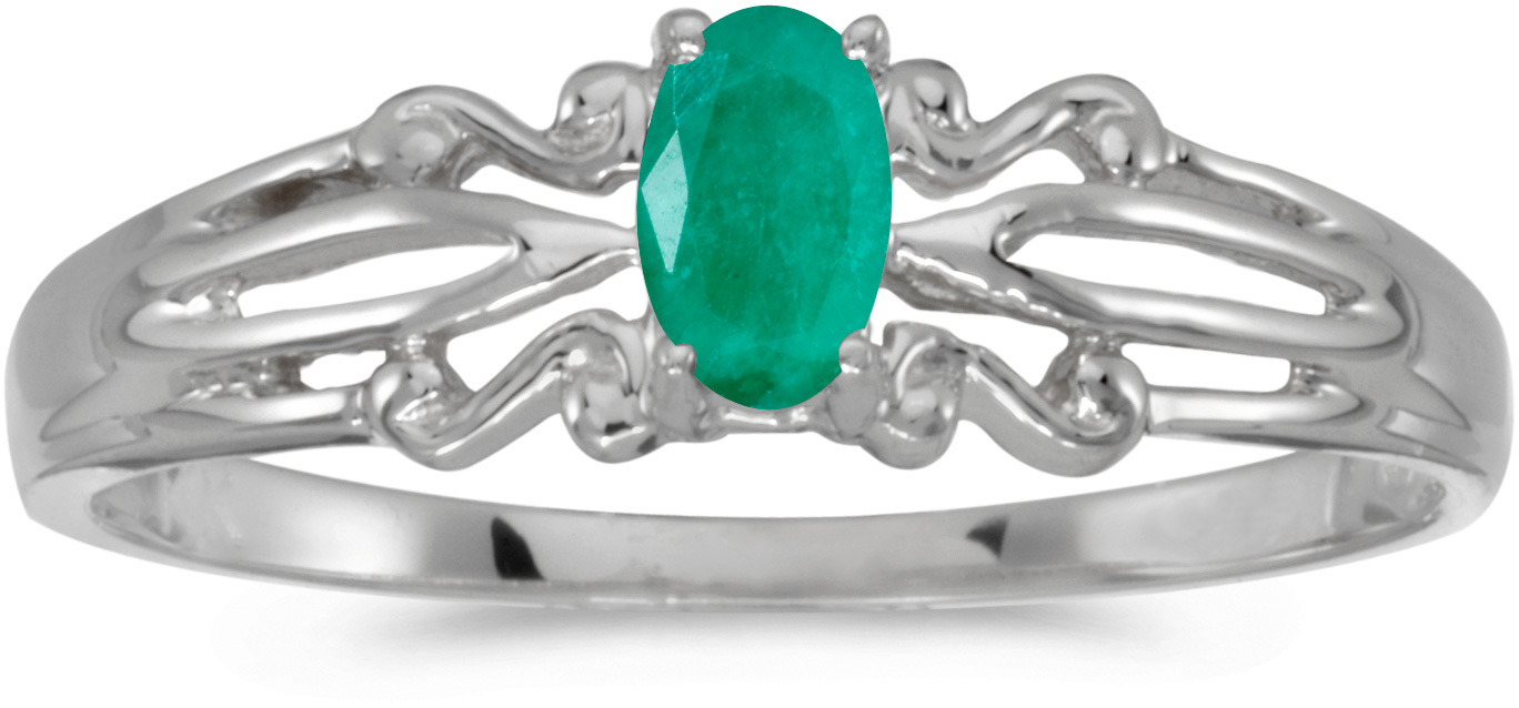 14k White Gold Oval Emerald Ring (CM-RM1058XW-05)