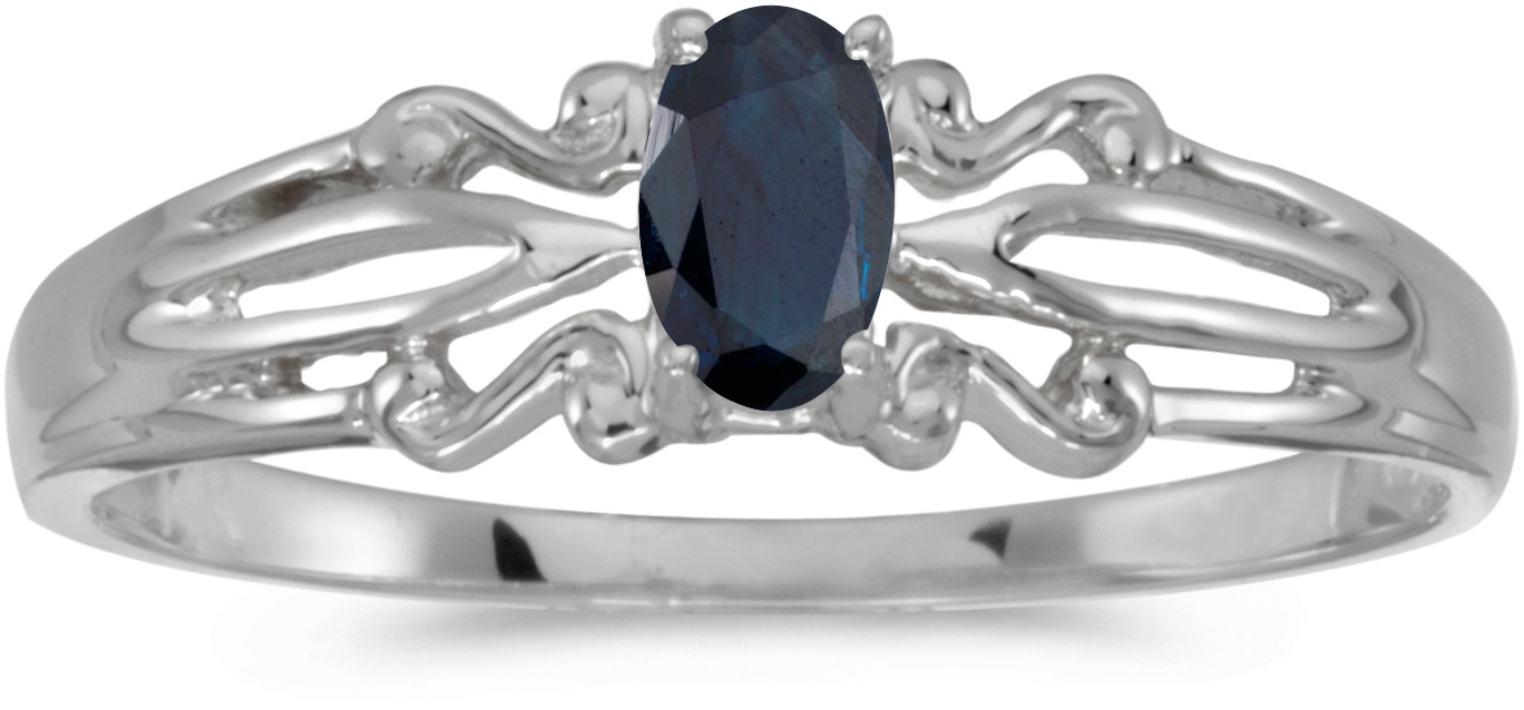 14k White Gold Oval Sapphire Ring (CM-RM1058XW-09)