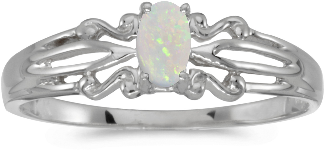 14k White Gold Oval Opal Ring (CM-RM1058XW-10)
