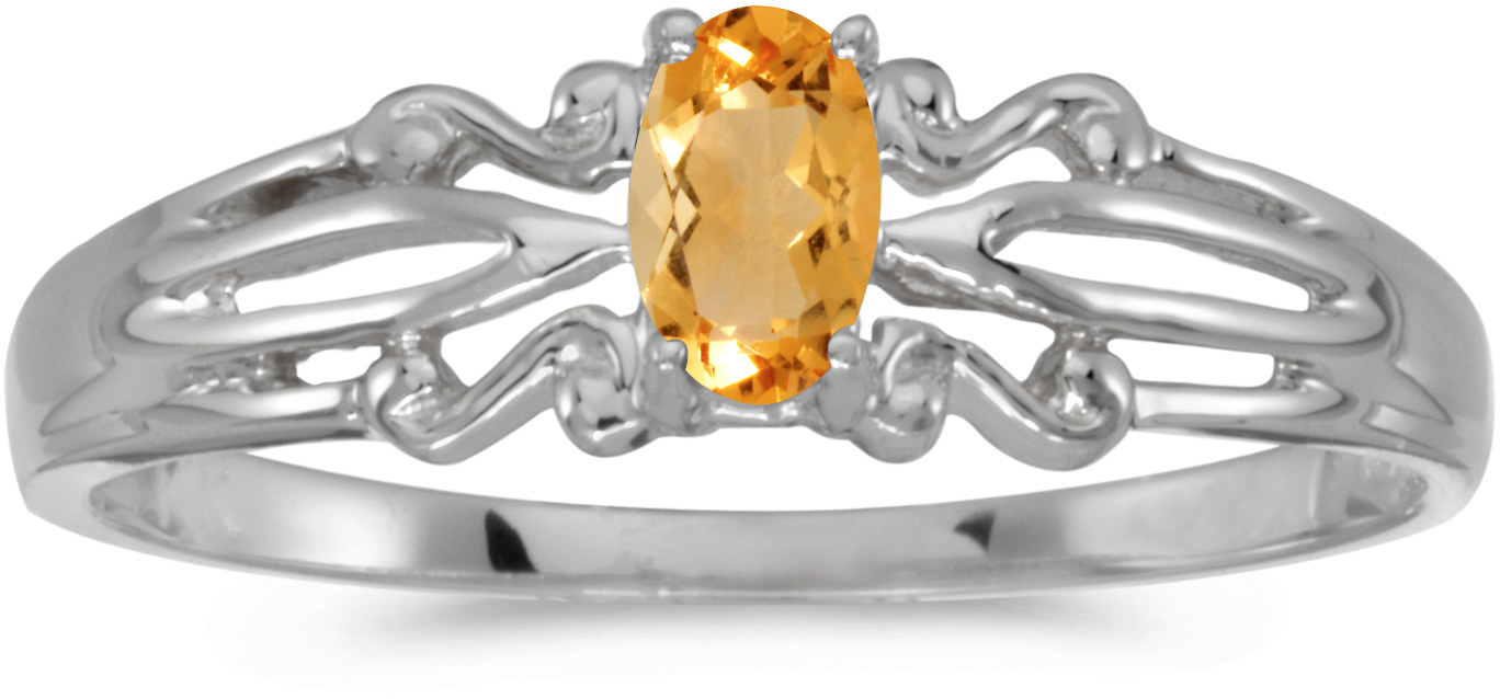 14k White Gold Oval Citrine Ring (CM-RM1058XW-11)