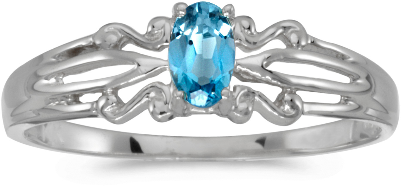 14k White Gold Oval Blue Topaz Ring (CM-RM1058XW-12)