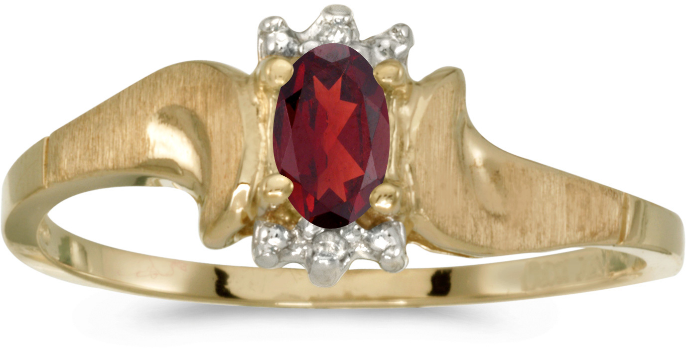 10k Yellow Gold Oval Garnet And Diamond Satin Finish Ring (CM-RM1125-01)