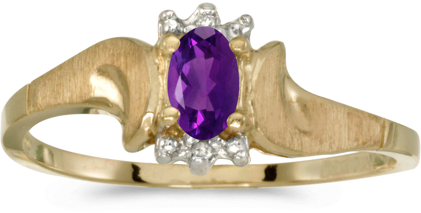 10k Yellow Gold Oval Amethyst And Diamond Satin Finish Ring (CM-RM1125-02)