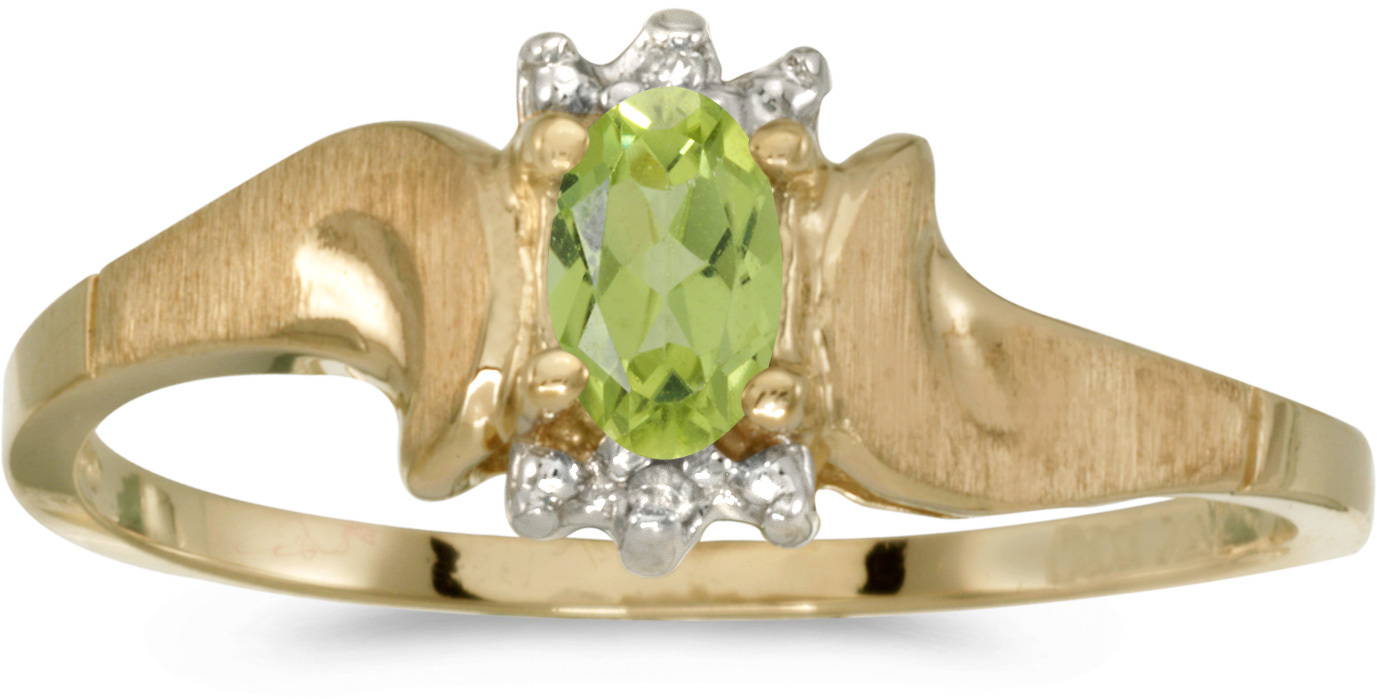 10k Yellow Gold Oval Peridot And Diamond Satin Finish Ring (CM-RM1125-08)
