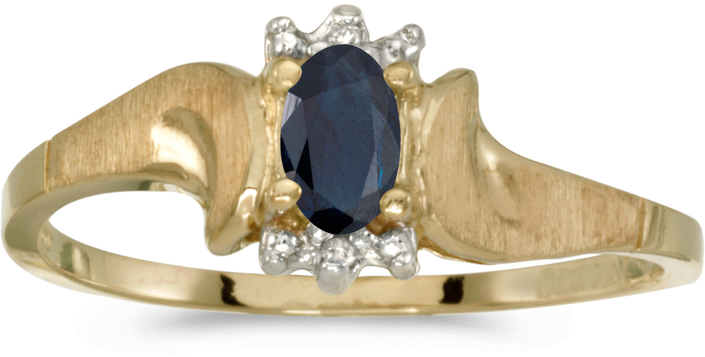 10k Yellow Gold Oval Sapphire And Diamond Satin Finish Ring (CM-RM1125-09)