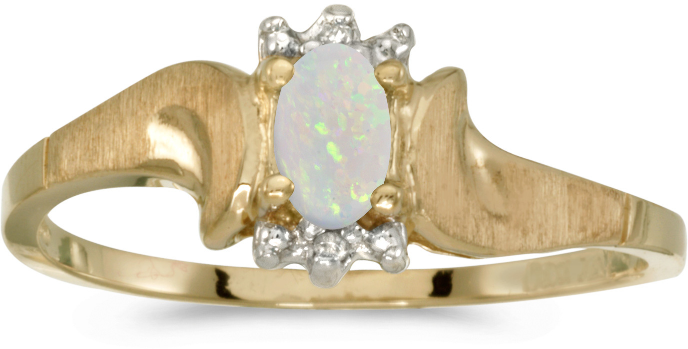 10k Yellow Gold Oval Opal And Diamond Satin Finish Ring (CM-RM1125-10)