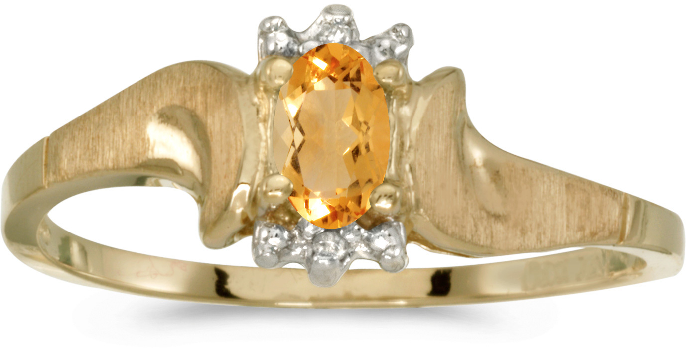 10k Yellow Gold Oval Citrine And Diamond Satin Finish Ring (CM-RM1125-11)