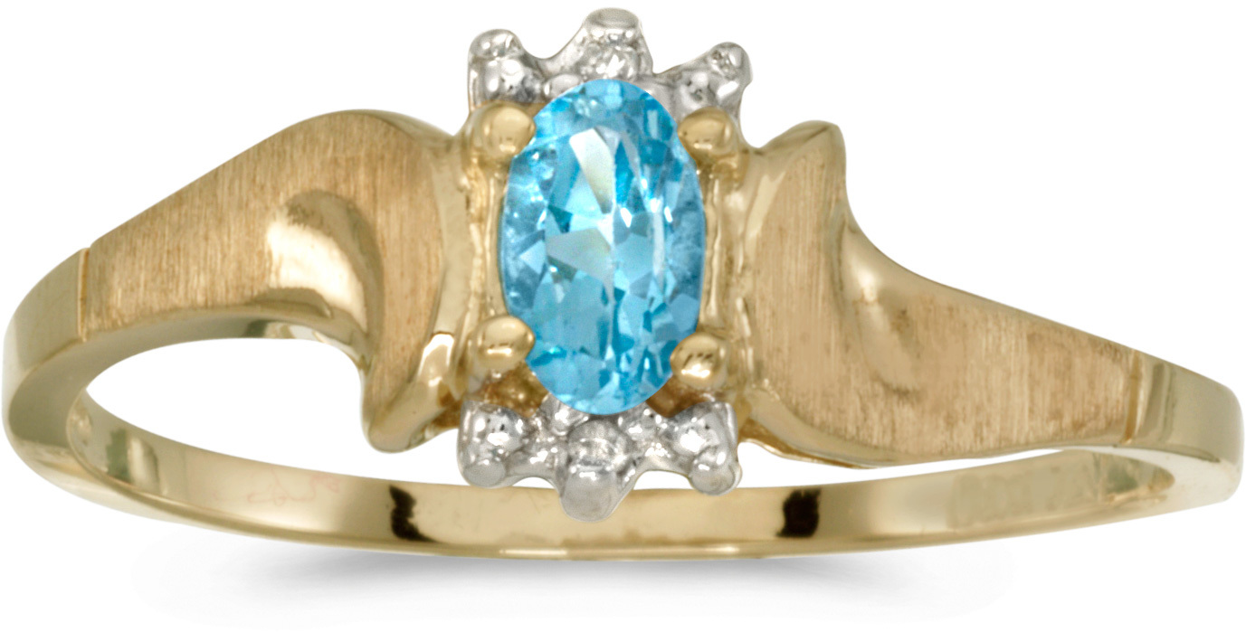 10k Yellow Gold Oval Blue Topaz And Diamond Satin Finish Ring (CM-RM1125-12)