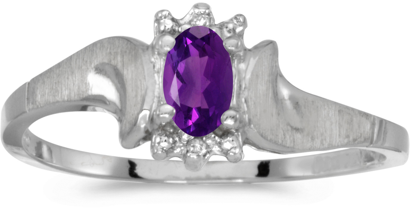 10k White Gold Oval Amethyst And Diamond Satin Finish Ring (CM-RM1125W-02)