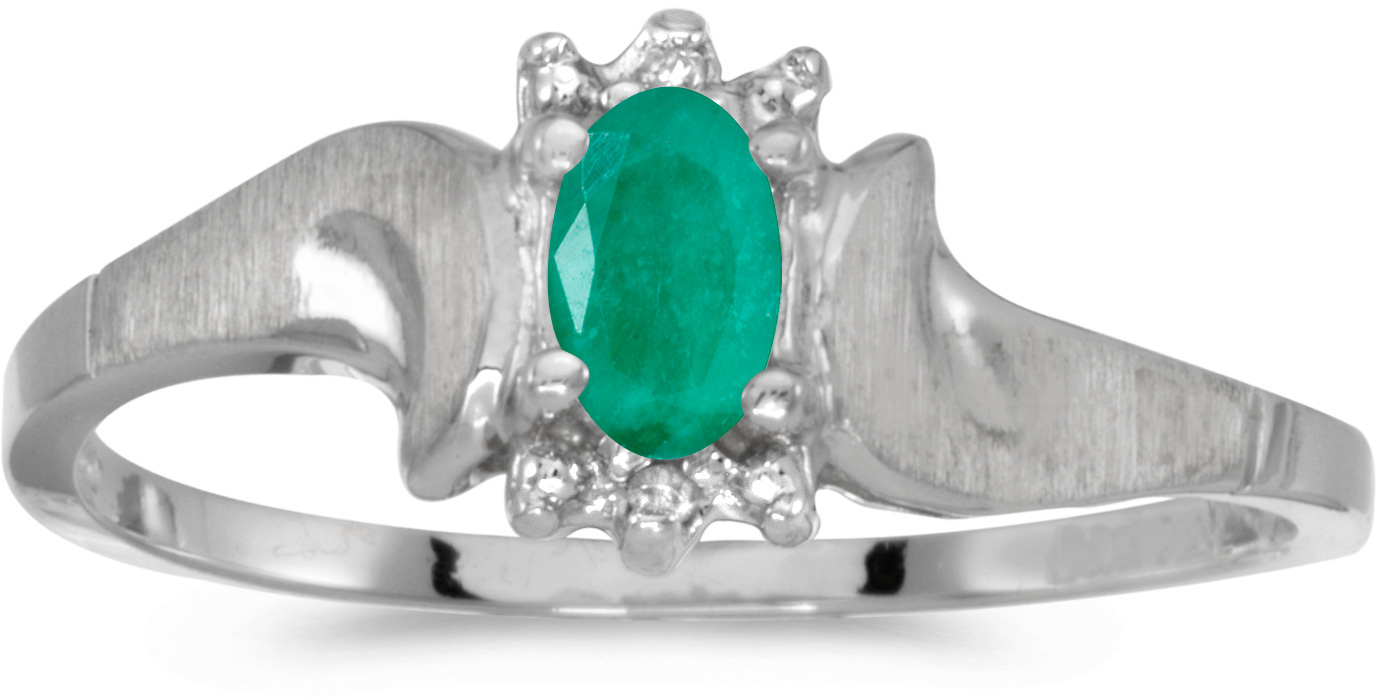 10k White Gold Oval Emerald And Diamond Satin Finish Ring (CM-RM1125W-05)