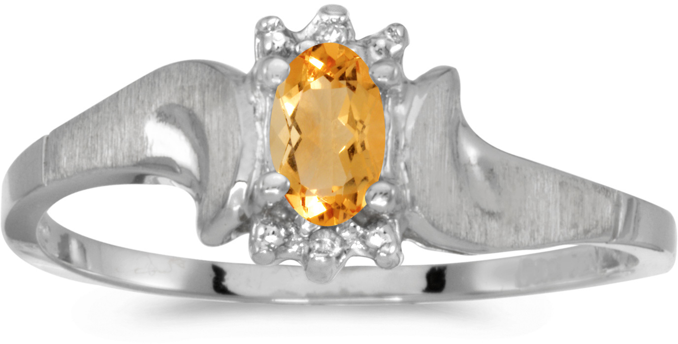 10k White Gold Oval Citrine And Diamond Satin Finish Ring (CM-RM1125W-11)