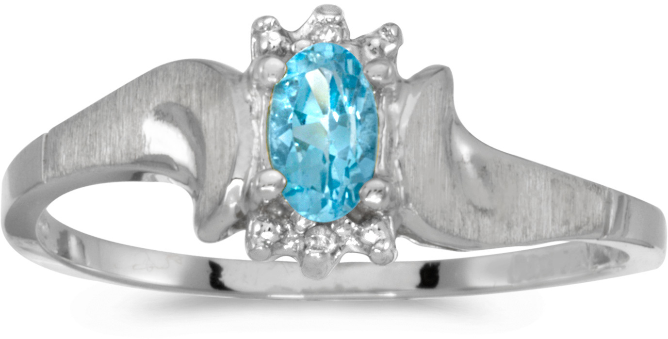 10k White Gold Oval Blue Topaz And Diamond Satin Finish Ring (CM-RM1125W-12)