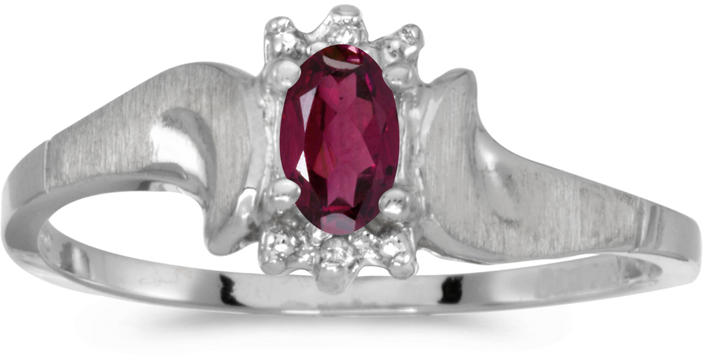 10k White Gold Oval Rhodolite Garnet And Diamond Satin Finish Ring (CM-RM1125W-RG)