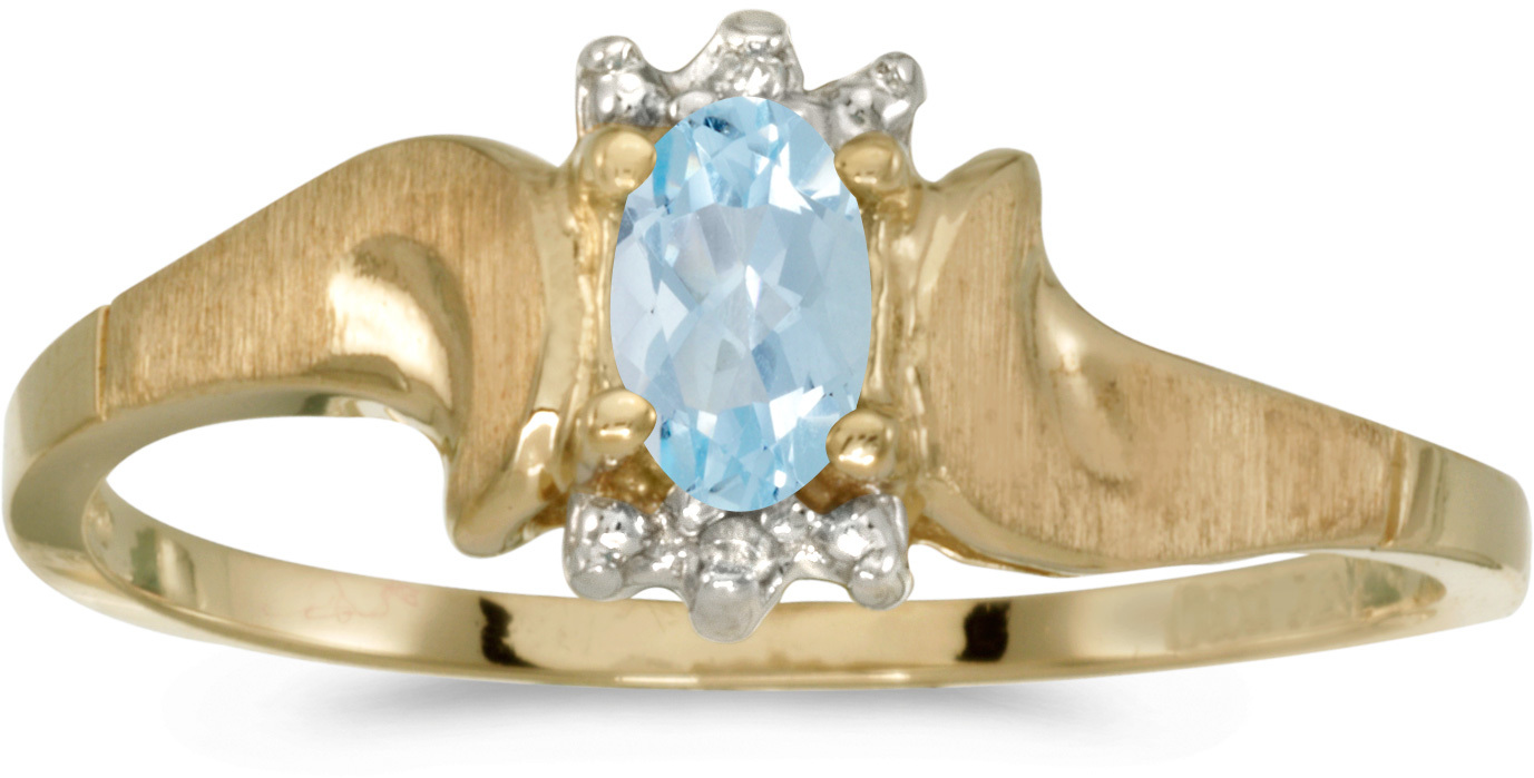 14k Yellow Gold Oval Aquamarine And Diamond Satin Finish Ring (CM-RM1125X-03)