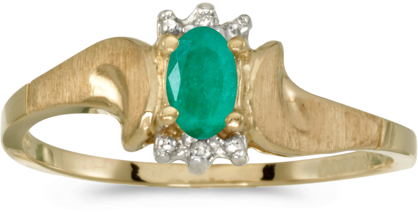 14k Yellow Gold Oval Emerald And Diamond Satin Finish Ring (CM-RM1125X-05)