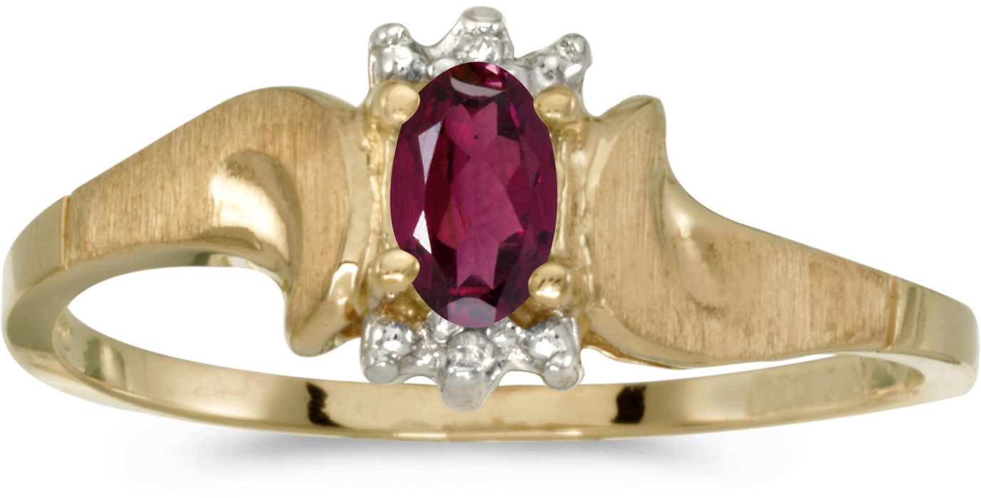 14k Yellow Gold Oval Rhodolite Garnet And Diamond Satin Finish Ring (CM-RM1125X-RG)