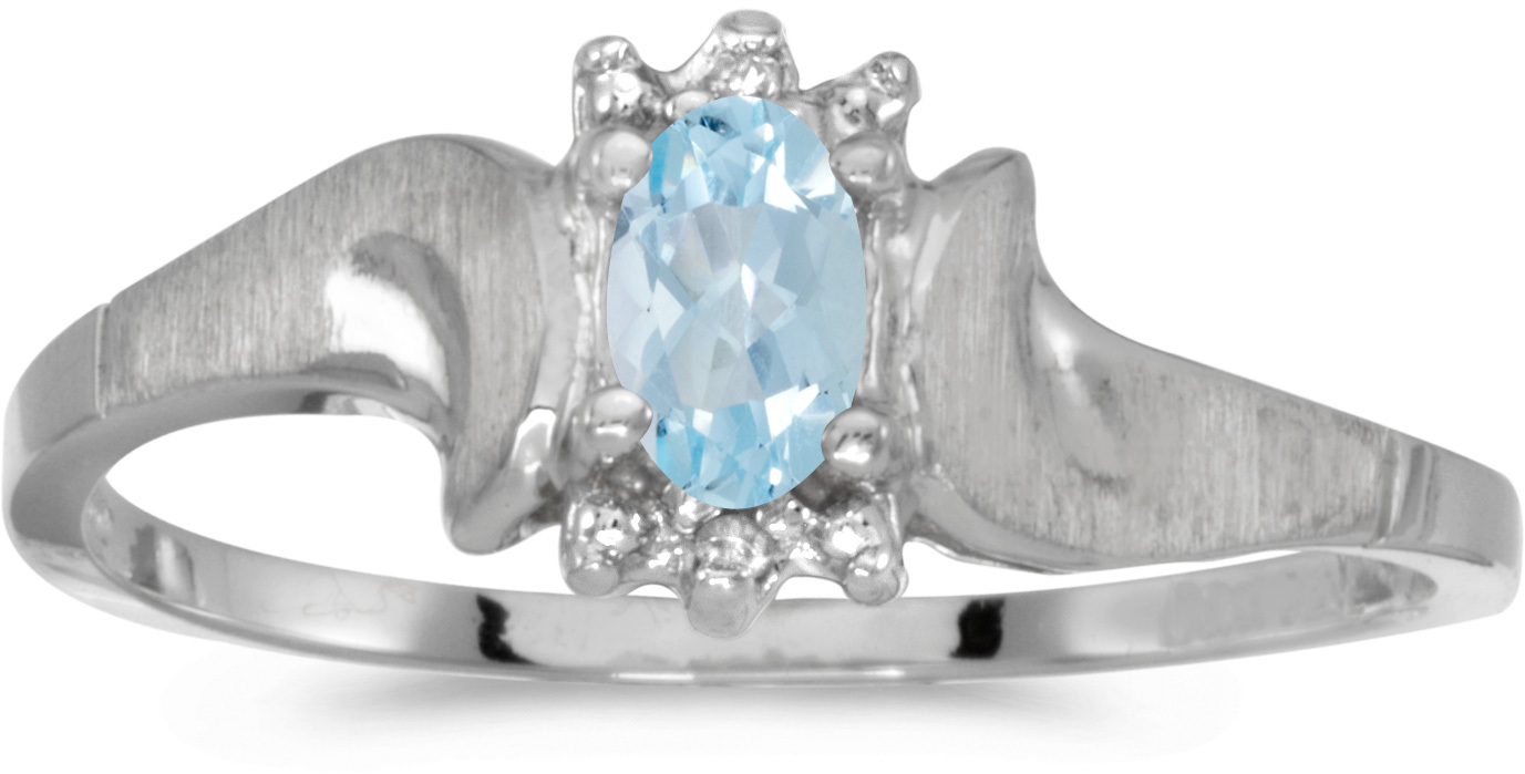 14k White Gold Oval Aquamarine And Diamond Satin Finish Ring (CM-RM1125XW-03)