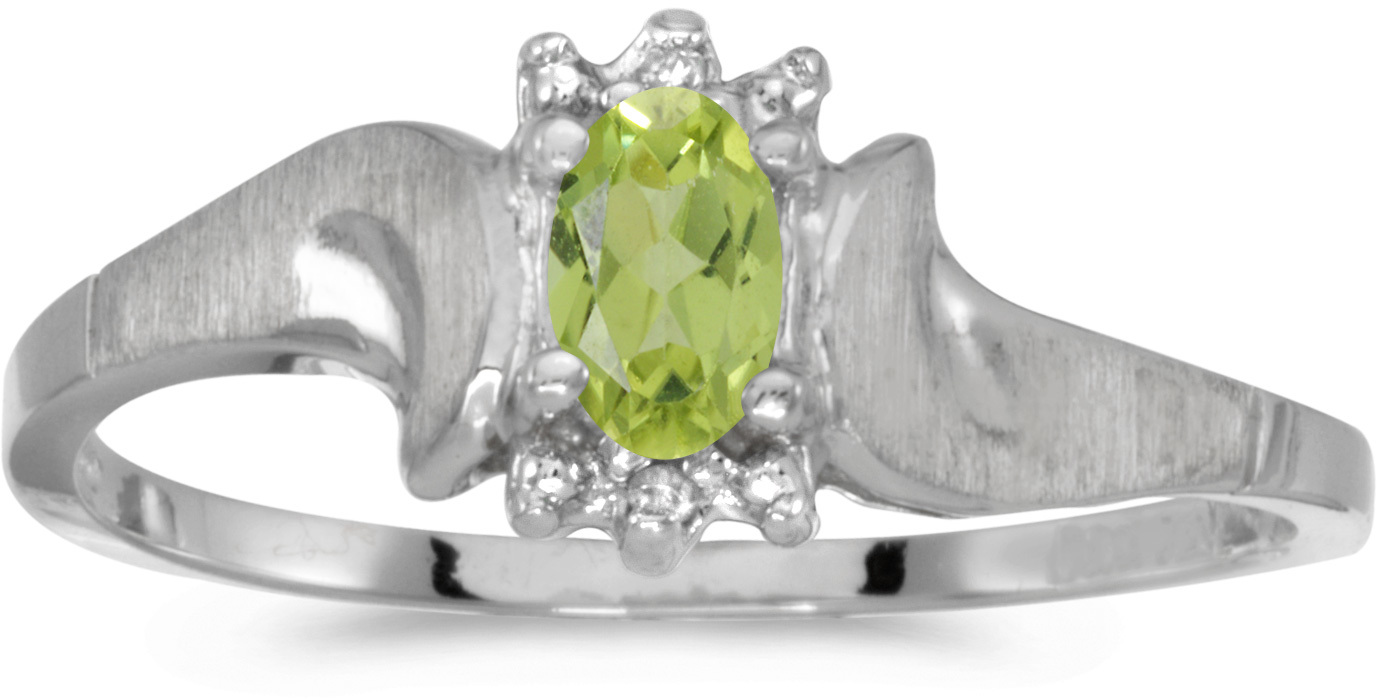 14k White Gold Oval Peridot And Diamond Satin Finish Ring (CM-RM1125XW-08)
