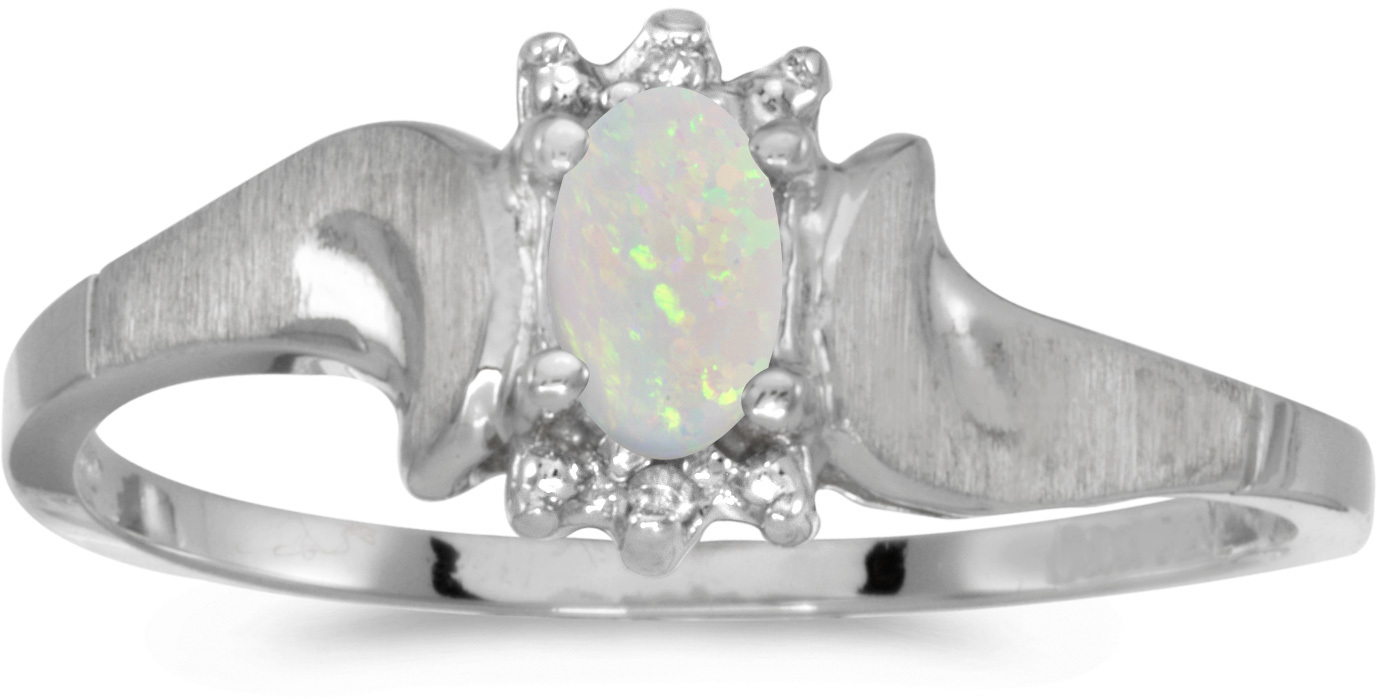 14k White Gold Oval Opal And Diamond Satin Finish Ring (CM-RM1125XW-10)