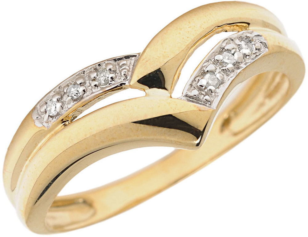 14K Yellow Gold Diamond Chevron Ring (CM-RM1139X)