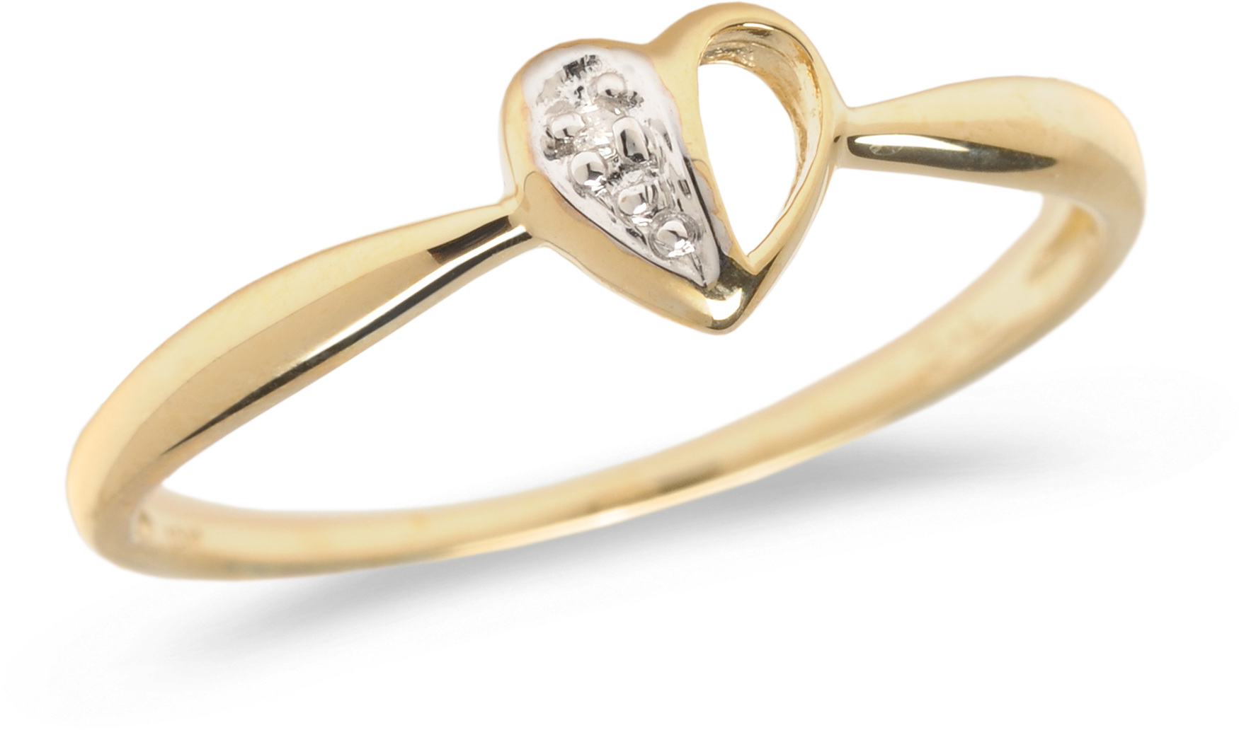 10K Yellow Gold Diamond Heart Ring (CM-RM1140)