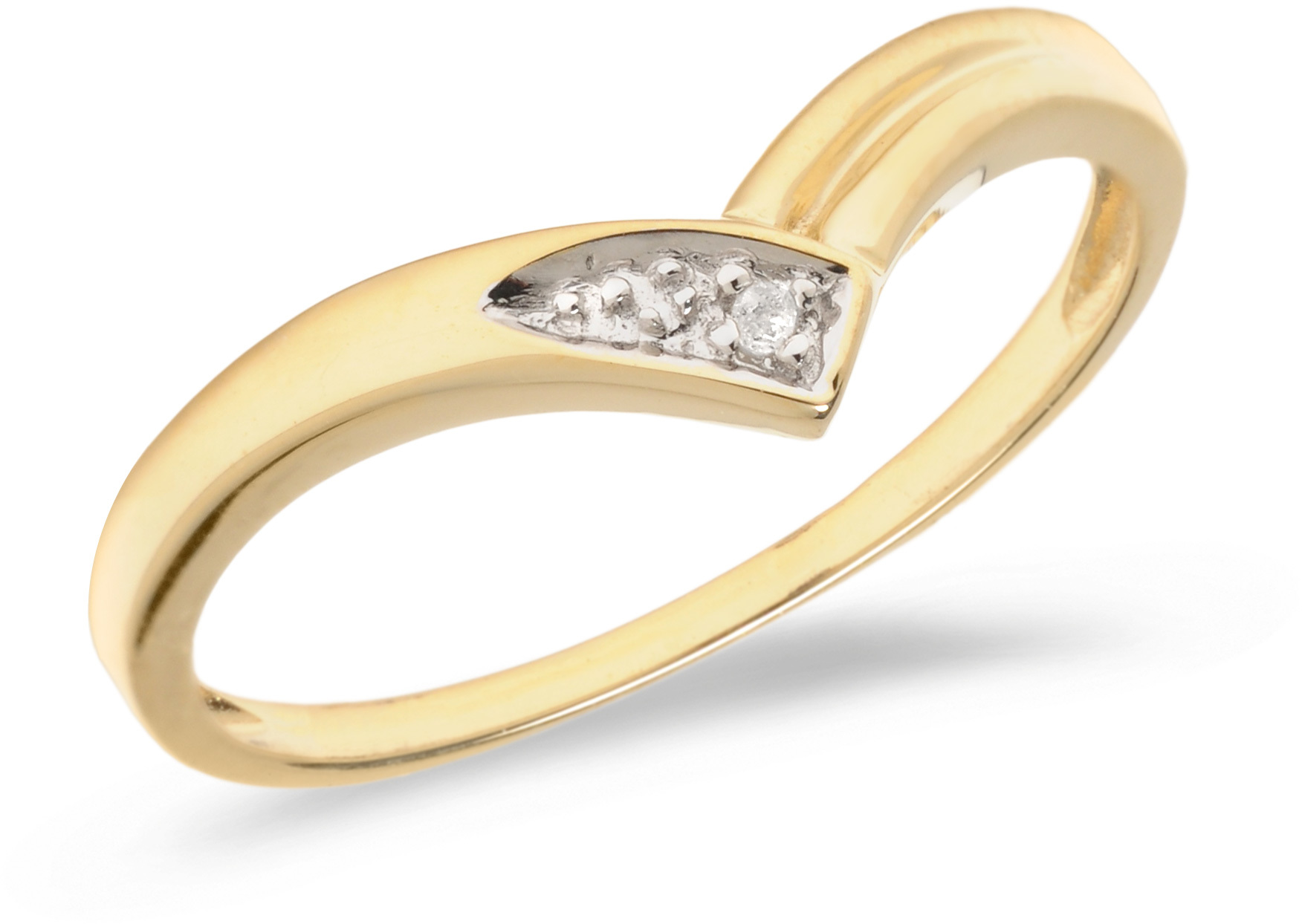 10K Yellow Gold Diamond Chevron Ring (CM-RM1141)