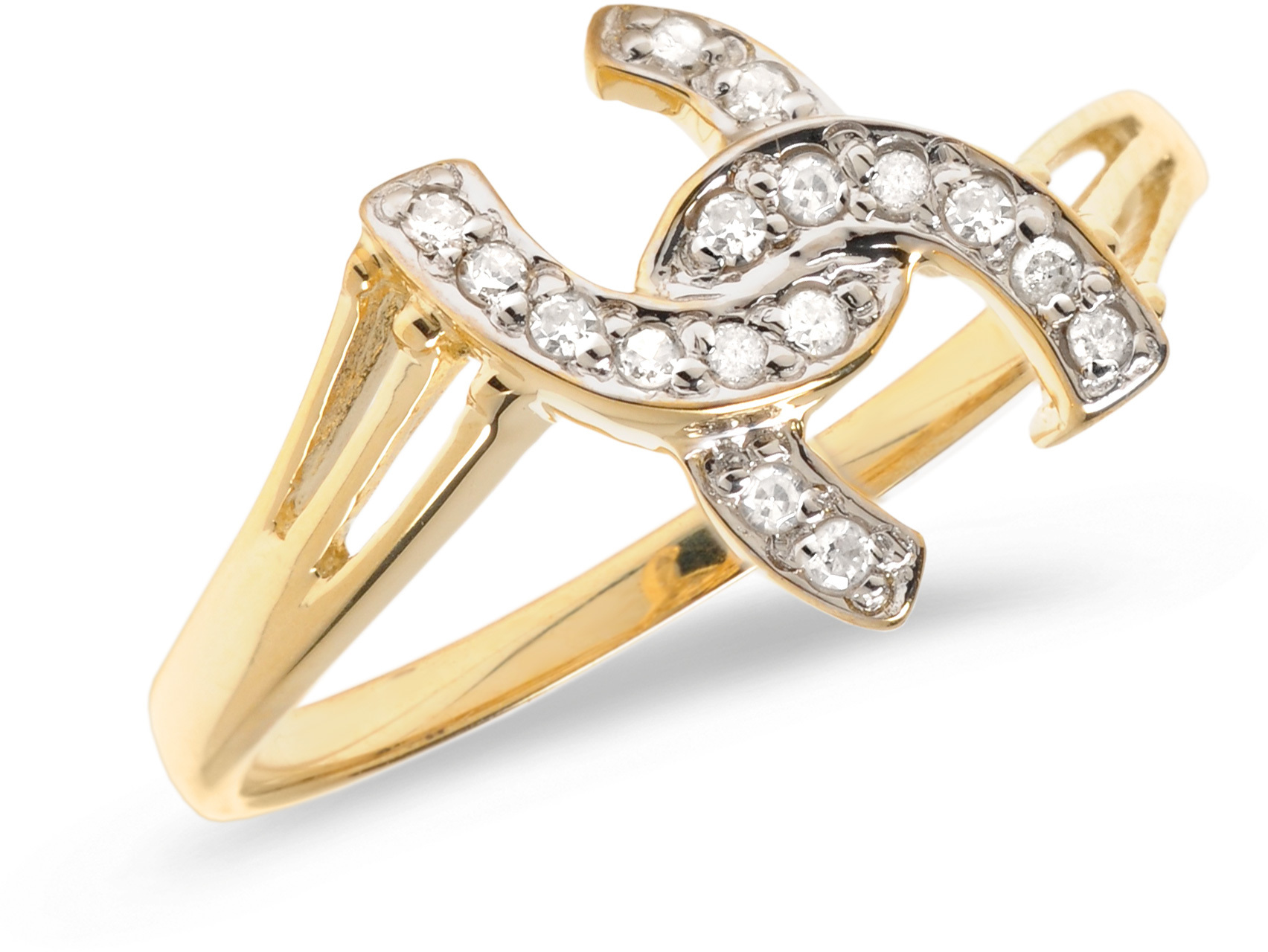 14K Yellow Gold Diamond Horseshoe Ring (CM-RM1142X)