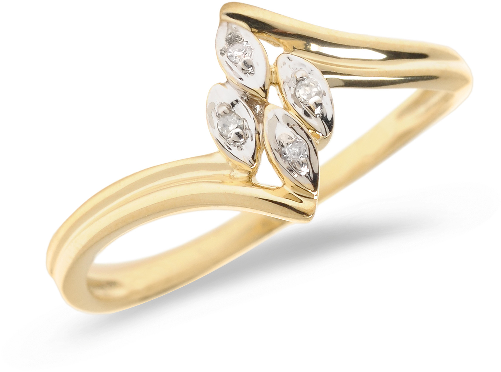 10K Yellow Gold Diamond Leaf Ring (CM-RM1143)