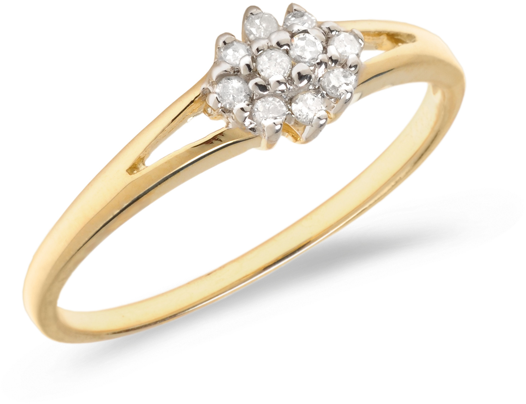 14K Yellow Gold Diamond Cluster Ring (CM-RM1145X)