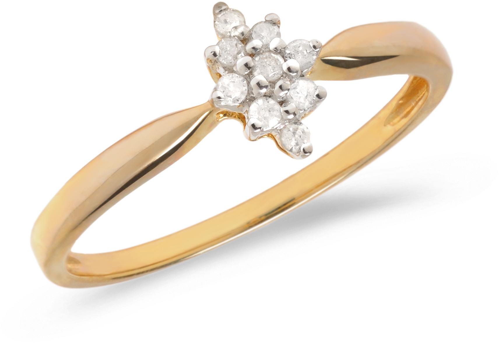 14K Yellow Gold Diamond Cluster Ring (CM-RM1146X)