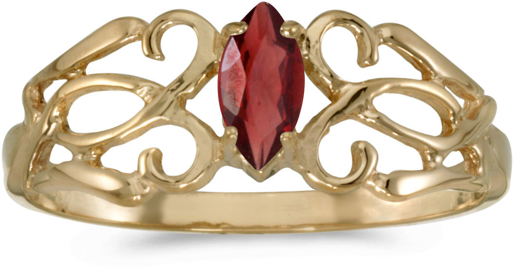 10k Yellow Gold Marquise Garnet Filigree Ring (CM-RM1188-01)
