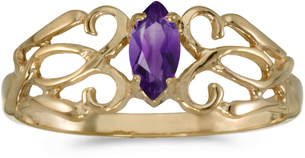 10k Yellow Gold Marquise Amethyst Filigree Ring (CM-RM1188-02)