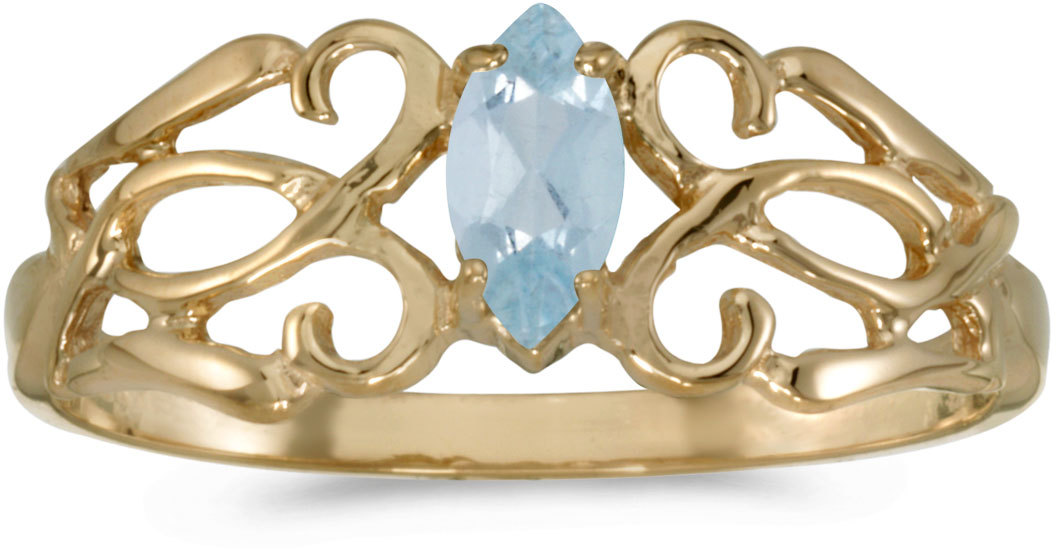 10k Yellow Gold Marquise Aquamarine Filigree Ring (CM-RM1188-03)