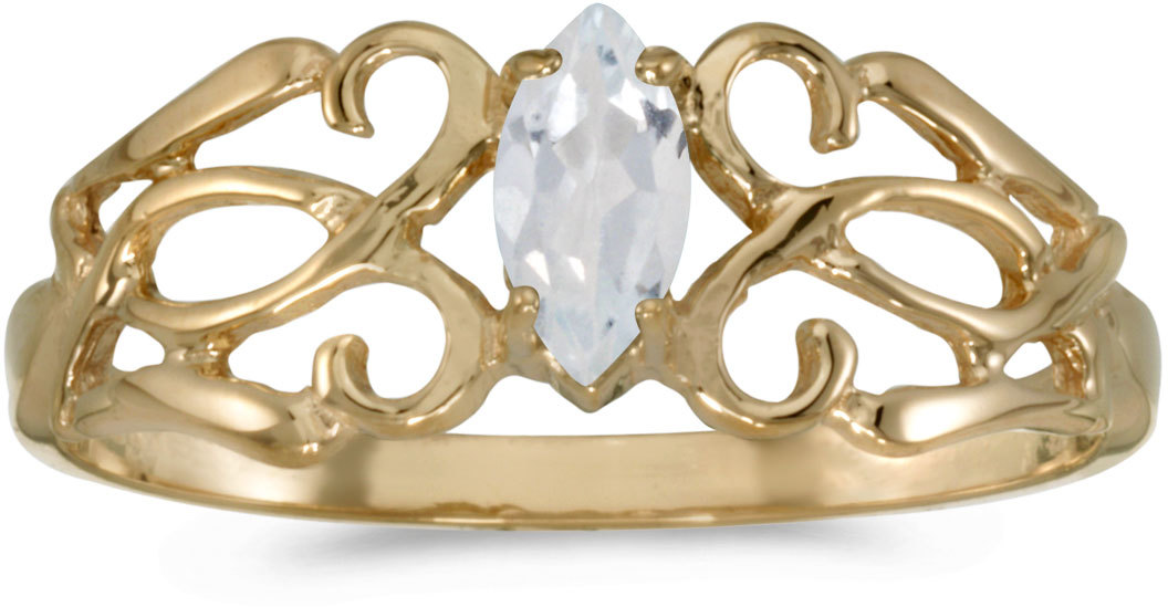 10k Yellow Gold Marquise White Topaz Filigree Ring (CM-RM1188-04)