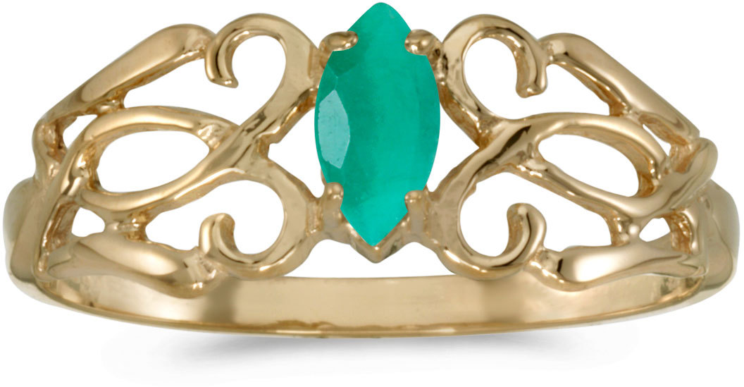 10k Yellow Gold Marquise Emerald Filigree Ring (CM-RM1188-05)