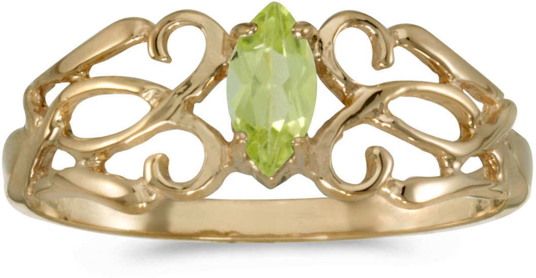 10k Yellow Gold Marquise Peridot Filigree Ring (CM-RM1188-08)