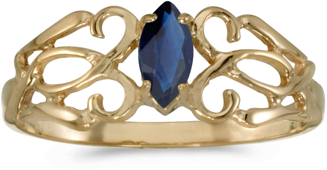 10k Yellow Gold Marquise Sapphire Filigree Ring (CM-RM1188-09)