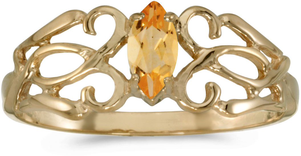 10k Yellow Gold Marquise Citrine Filigree Ring (CM-RM1188-11)