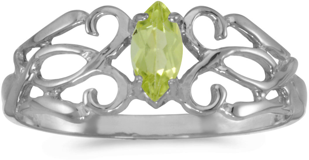 10k White Gold Marquise Peridot Filigree Ring (CM-RM1188W-08)