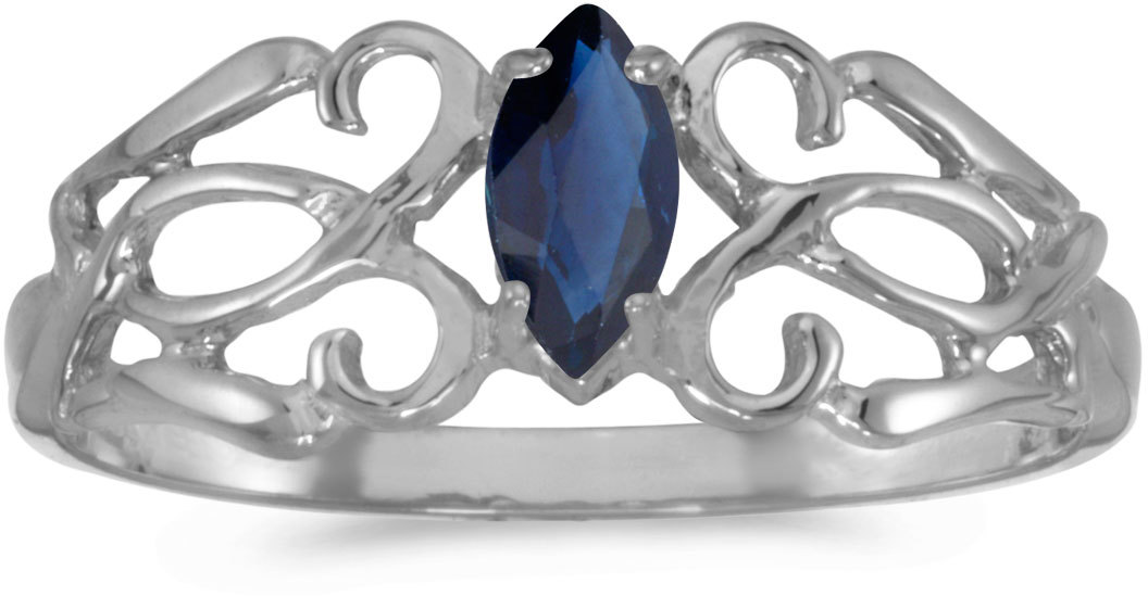 10k White Gold Marquise Sapphire Filigree Ring (CM-RM1188W-09)