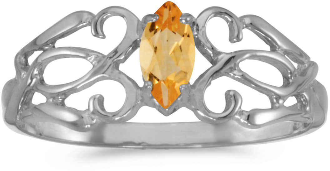 10k White Gold Marquise Citrine Filigree Ring (CM-RM1188W-11)