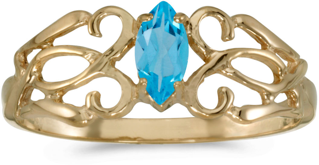14k Yellow Gold Marquise Blue Topaz Filigree Ring (CM-RM1188X-12)