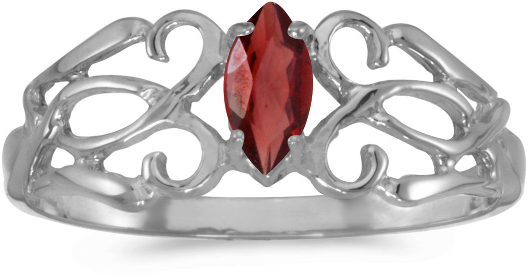 14k White Gold Marquise Garnet Filigree Ring (CM-RM1188XW-01)