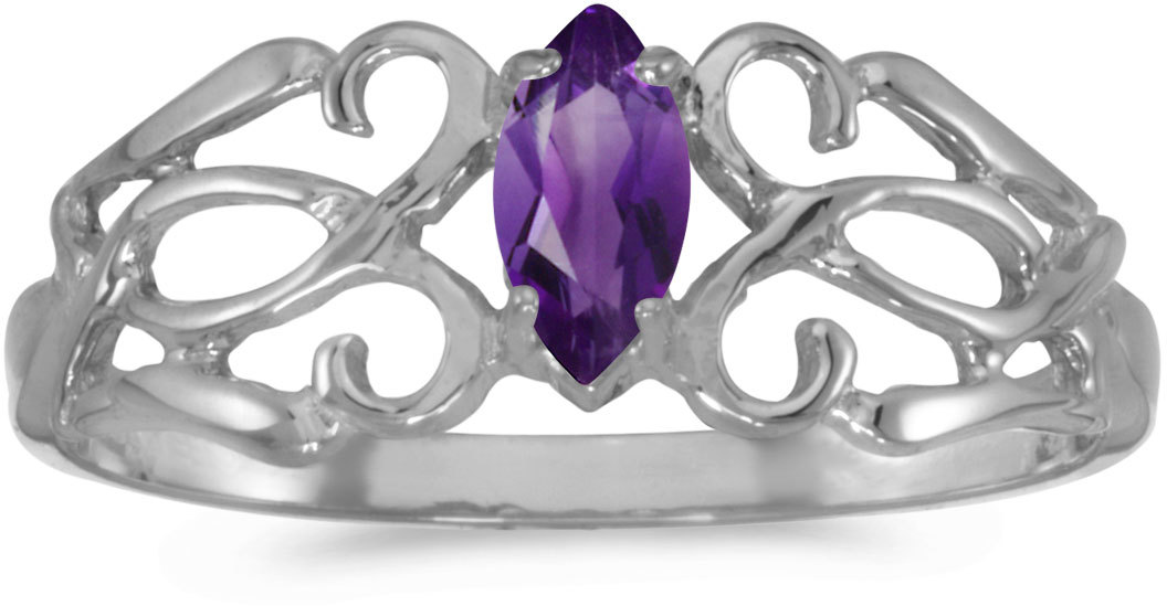 14k White Gold Marquise Amethyst Filigree Ring (CM-RM1188XW-02)